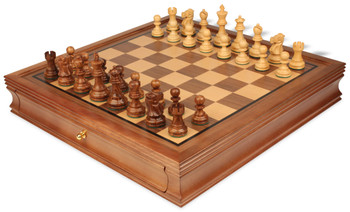 Deluxe Old Club Staunton Chess Set Acacia Boxwood Pieces with Walnut Chess Case 325 King