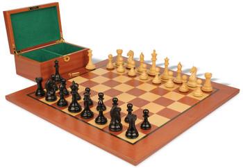 Fierce Knight Staunton Chess Set Ebonized Boxwood Pieces with Mahogany Board Box 3 King