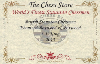British Staunton Chess Set Ebonized Boxwood Pieces with Walnut Chess Box 35 King