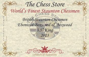 British Staunton Chess Set Ebonized Boxwood Pieces with Macassar Ebony Chess Box 35 King