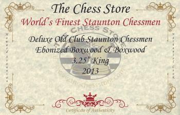Deluxe Old Club Staunton Chess Set Ebonized Boxwood Pieces with Macassar Ebony Chess Box 325 King