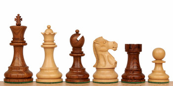 Deluxe Old Club Staunton Chess Set in Golden Rosewood Boxwood with Walnut Box 325 King