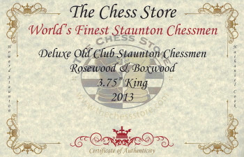 Deluxe Old Club Staunton Chess Set in Rosewood Boxwood with Walnut Box 375 King