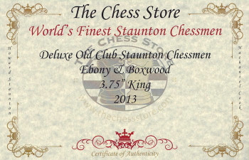 Deluxe Old Club Staunton Chess Set Ebony Boxwood Pieces with Walnut Chess Box 375 King