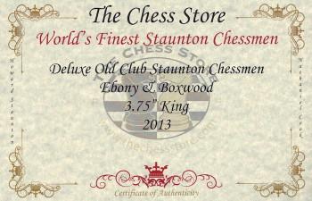 Deluxe Old Club Staunton Chess Set Ebony Boxwood Pieces with Mahogany Chess Box 375 King