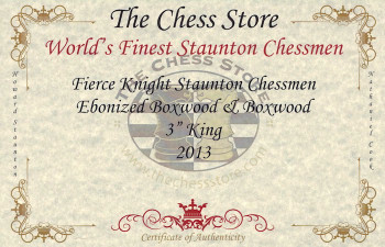 Fierce Knight Staunton Chess Set Ebonized Boxwood Pieces with Walnut Chess Box 3 King