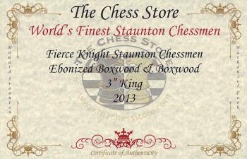 Fierce Knight Staunton Chess Set Ebonized Boxwood Pieces with Macassar Ebony Chess Box 3 King