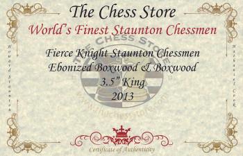 Fierce Knight Staunton Chess Set Ebonized Boxwood Pieces with Mahogany Chess Box 35 King