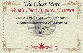 Fierce Knight Staunton Chess Set Ebonized Boxwood Pieces with Macassar Ebony Chess Box 35 King