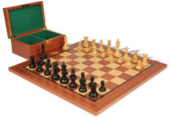 British Staunton Chess Set Ebonized Boxwood Pieces with Mahogany Board Box 35 King