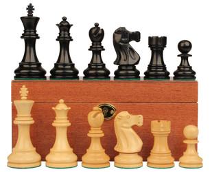 Deluxe Old Club Staunton Chess Set Ebonized Boxwood Pieces with Mahogany Board Box 325 King