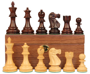 Deluxe Old Club Staunton Chess Set in Rosewood Boxwood with Walnut Board Box 375 King