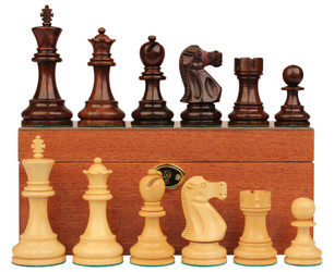Deluxe Old Club Staunton Chess Set in Rosewood Boxwood with Mahogany Board Box 375 King