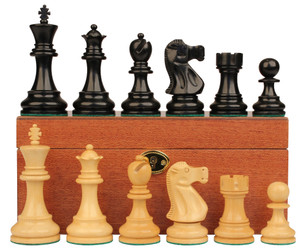 Deluxe Old Club Staunton Chess Set Ebony Boxwood Pieces with Mahogany Board Box 375 King