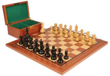 Deluxe Old Club Staunton Chess Set in Ebony Boxwood with Mahogany Board Box 325 King