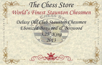 Deluxe Old Club Staunton Chess Set Ebonized Boxwood Pieces with Macassar Ebony Board Box 325 King