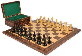 Fierce Knight Staunton Chess Set Ebonized Boxwood Pieces with Macassar Ebony Board Box 4 King