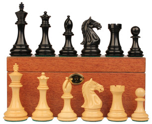 Fierce Knight Staunton Chess Set Ebonized Boxwood Pieces with Mahogany Chess Box 4 King