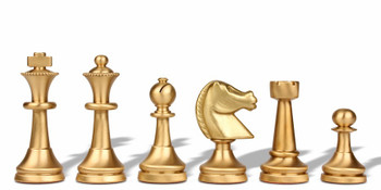 Traditional Staunton Solid Brass Chess Set with Alabaster & Wood Chess Case