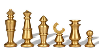Contemporary Solid Brass Chess Set with Alabaster Wood Chess Case
