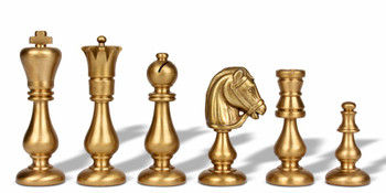 Contemporary Staunton Solid Brass Chess Set with Alabaster Wood Chess Case