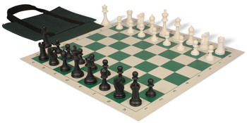 Club Tourney Easy Carry Plastic Chess Set Black Ivory Pieces with Green Roll up Chess Board Bag