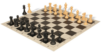 Club Tourney Series Plastic Chess Set Black Camel Pieces with Black Roll up Chess Board