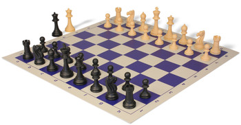 Club Tourney Series Plastic Chess Set Black Camel Pieces with Blue Roll up Chess Board