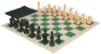 Club Tourney Classroom Plastic Chess Set Black Camel Pieces with Green Roll up Chess Board Bag