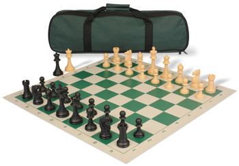 Club Tourney Carry All Plastic Chess Set Black Camel Pieces with Green Roll up Chess Board Bag