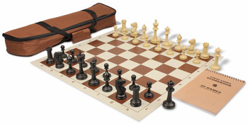 Club Tourney Carry All Plastic Chess Set Black Camel Pieces with Brown Roll up Chess Board Bag