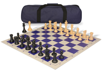 Club Tourney Carry All Plastic Chess Set Black Camel Pieces with Blue Roll up Chess Board Bag