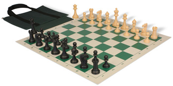 Club Tourney Easy Carry Plastic Chess Set Black Camel Pieces with Green Roll up Chess Board Bag