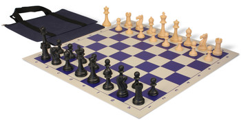Club Tourney Easy Carry Plastic Chess Set Black Camel Pieces with Blue Roll up Chess Board Bag