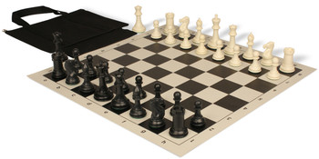 Conqueror Easy Carry Plastic Chess Set Black Ivory Pieces with Black Roll up Chess Board Bag