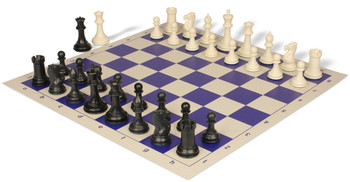 Conqueror Plastic Chess Set Black Ivory Pieces with Blue Roll up Chess Board
