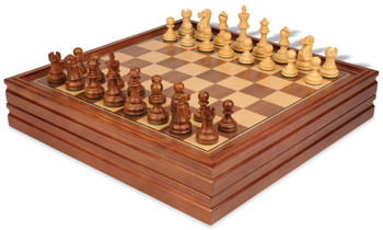 Deluxe Old Club Staunton Chess Set in Acacia Boxwood with Walnut Chess Backgammon Case 325 King