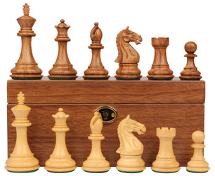 Fierce Knight Staunton Chess Set Acacia Boxwood Pieces with Walnut Chess Box 4 King