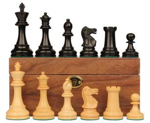 British Staunton Chess Set Ebony Boxwood Pieces with Walnut Chess Box 4 King