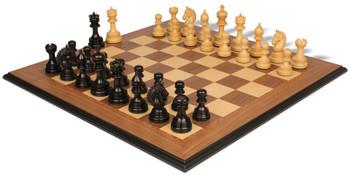 Chetak Staunton Chess Set in Ebony Boxwood with Walnut Maple Moulded Edge Chess Board 425 King