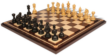 Chetak Staunton Chess Set in Ebony Boxwood with Walnut Maple Mission Craft Chess Board 425 King