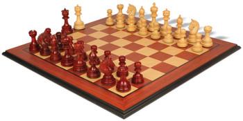 Chetak Staunton Chess Set in Padauk Boxwood with Padauk Birds Eye Maple Chess Board