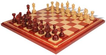 Chetak Staunton Chess Set in Padauk Boxwood with Padauk Maple Mission Craft Chess Board