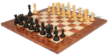 Bucephalus Staunton Chess Set in Ebony Boxwood with Elm Burl Erable Chess Board