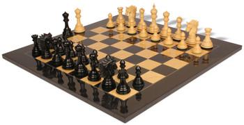 Bucephalus Staunton Chess Set Ebony Boxwood Pieces with Black Ash Burl Chess Board 45 King