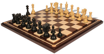 Bucephalus Staunton Chess Set in Ebony Boxwood with Walnut Maple Mission Craft Chess Board