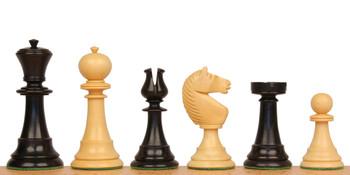 English Upright Antique Reproduction Chess Set Ebonized Boxwood Pieces
