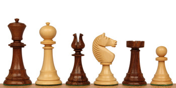 English Upright Antique Reproduction Chess Set Golden Rosewood Boxwood Pieces