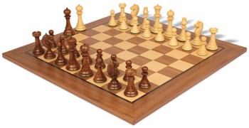 English Upright Antique Reproduction Chess Set Ebonized Boxwood with Classic Walnut Chess Board
