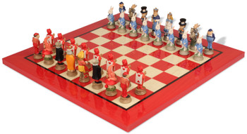 Alice in Wonderland Theme Chess Set with Red Erable Deluxe Chess Board
